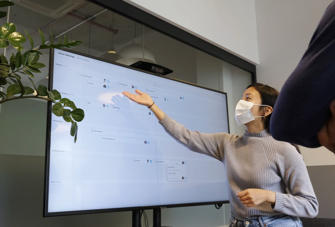 Showing work process on a white board