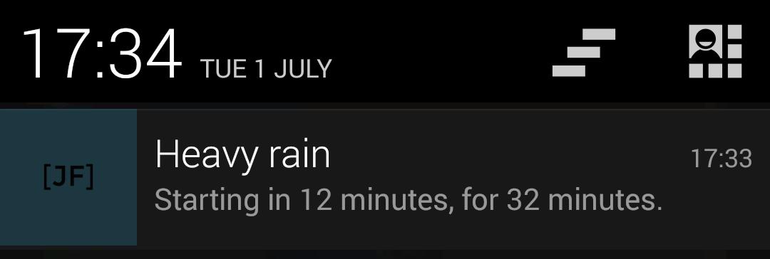 Pushover heavy rain notification dropdown