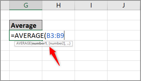In an Excel worksheet, the average function has been typed into a cell with a comma to denote two separate ranges
