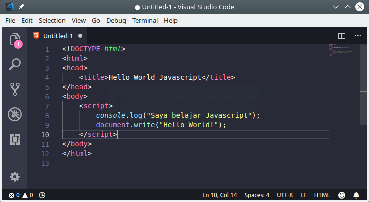 Menulis program javascript di teks editor VS Code