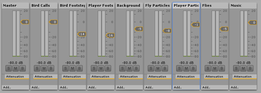 Screenshot of my audio mixing choices
