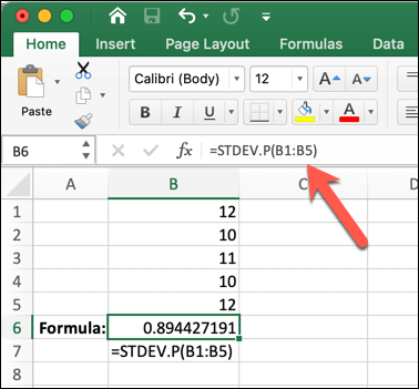 An Excel worksheet with the STDEV.P formula typed into the formula bar