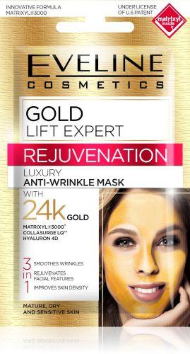 EVELINE GOLD LIFT EXPERT 3 az 1-ben bőrfiatalító és ránctalanító luxus arcmaszk 7 ml