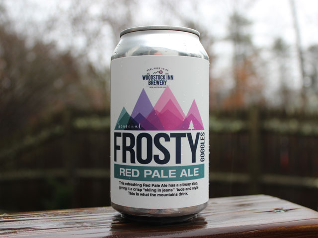 Frosty Goggles, a Red Pale Ale brewed by Woodstock Inn Brewery