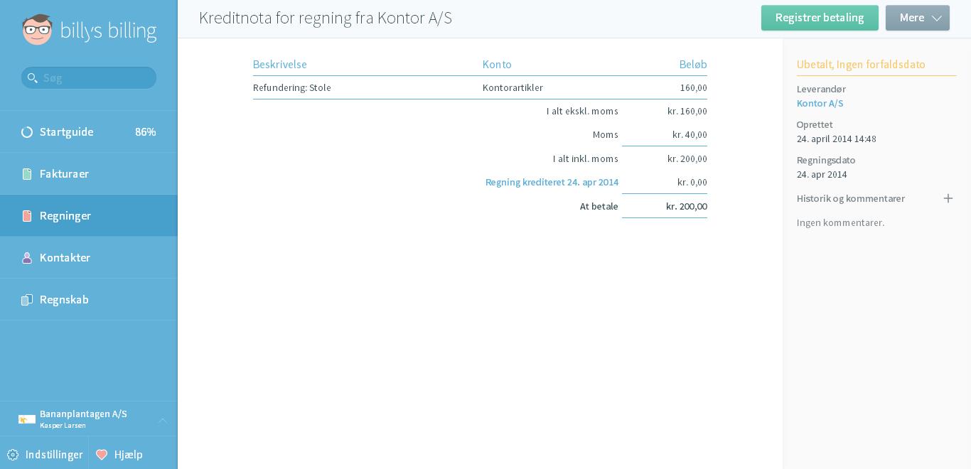 Tilbagebetaling fra leverandør