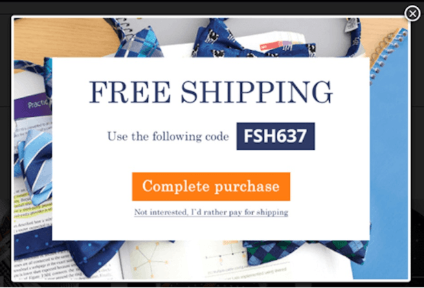Free shipping popup
