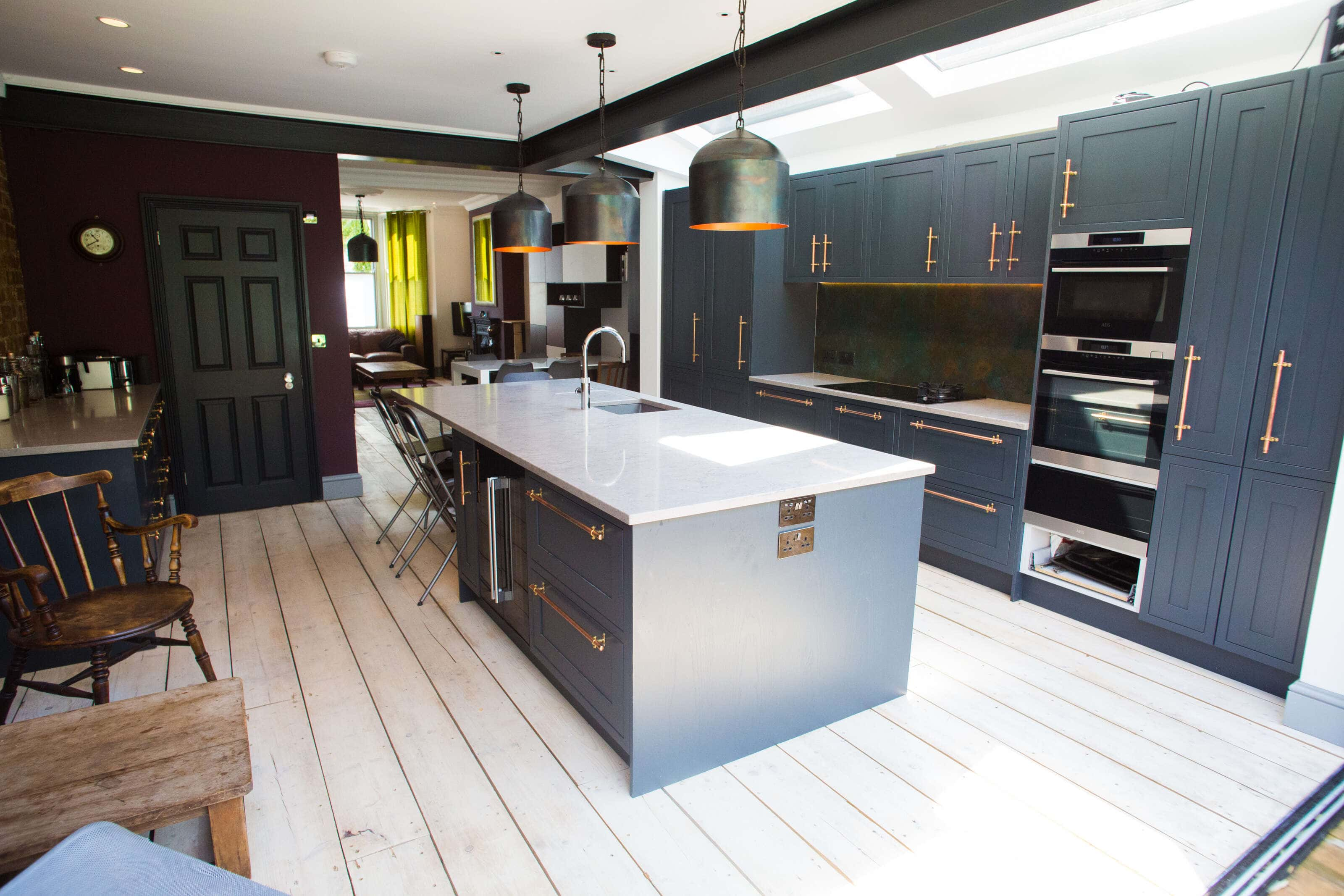 studio kitchen with seating area