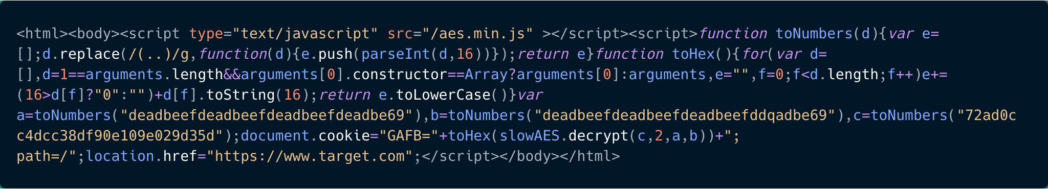 Javascript code snippet