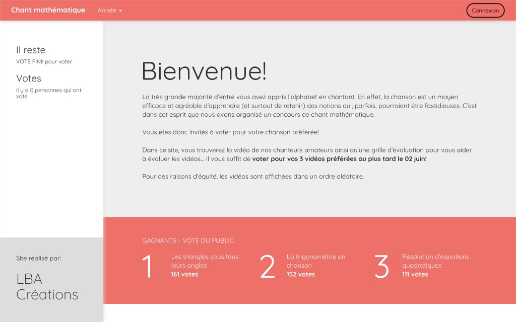 Capture d'écran du site du concours de chant mathématique