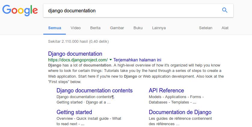 Pencarian dokumentasi dari Google