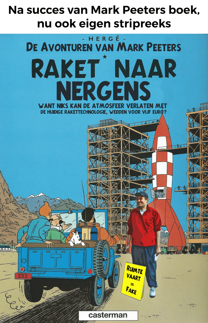 After several students published a book about Mark Peeters (Mark de Maanman), we created a fake follow-up comic book cover. Mark surprisingly later thanked us for this cartoon, given that the real Tintin comic book used to be one of his favorite comics growing up.