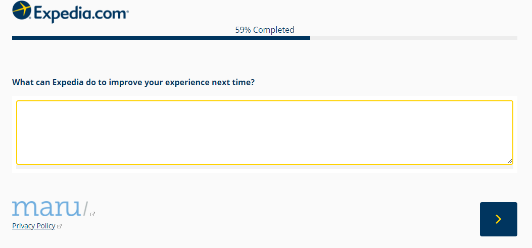 Example of an open-ended question in an NPS Survey from Expedia