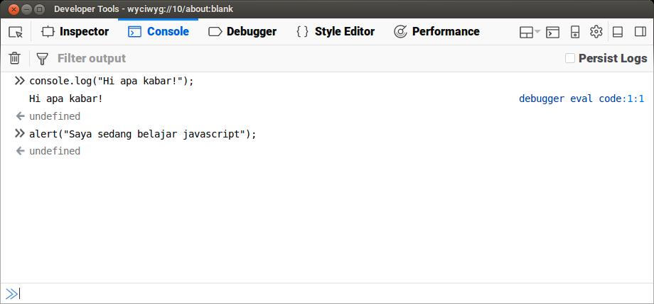 Mozilla Firefox Javascript Console
