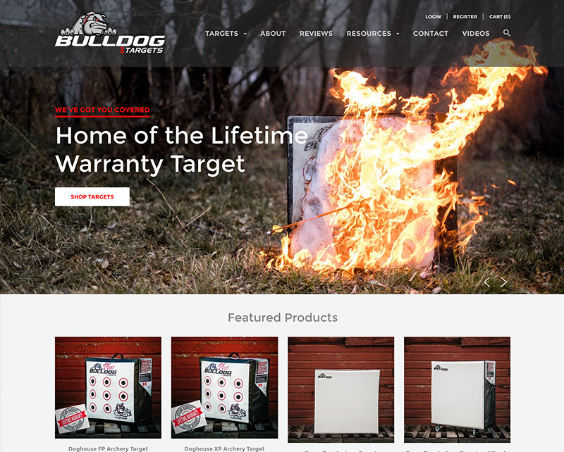 Home Page of Bulldog Targets Website