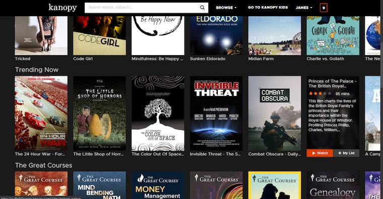 Kanopy screenshot with links to films, documentaries and courses.