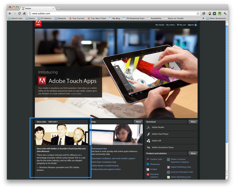 Adobe tribute to Steve Jobs