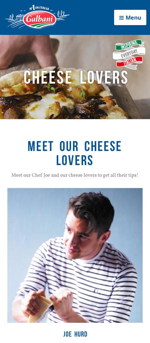 Galbani blog page mobile view, highlighting chef Joe Hurd