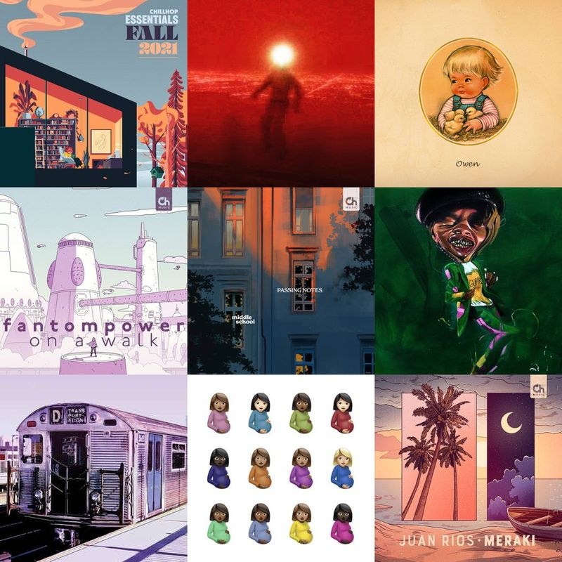 My top 9 albums for the past 7 days. (By the Time I Get to Phoenix - Injury Reserve [11 listens], No Good For No One Now - Owen [7 listens], On a Walk - FANTOMPOWER [4 listens], Passing Notes - Middle School [4 listens], GUMBO'! - pink siifu [3 listens], Transportation - Your Old Droog [3 listens], Certified Lover Boy - Drake [2 listens], Meraki - Juan Rios [2 listens], Places - Ruck P [2 listens])