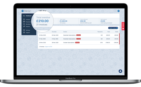 A screenshot of the Payzip dashboard, showing total collection figures and a table of overdue invoices