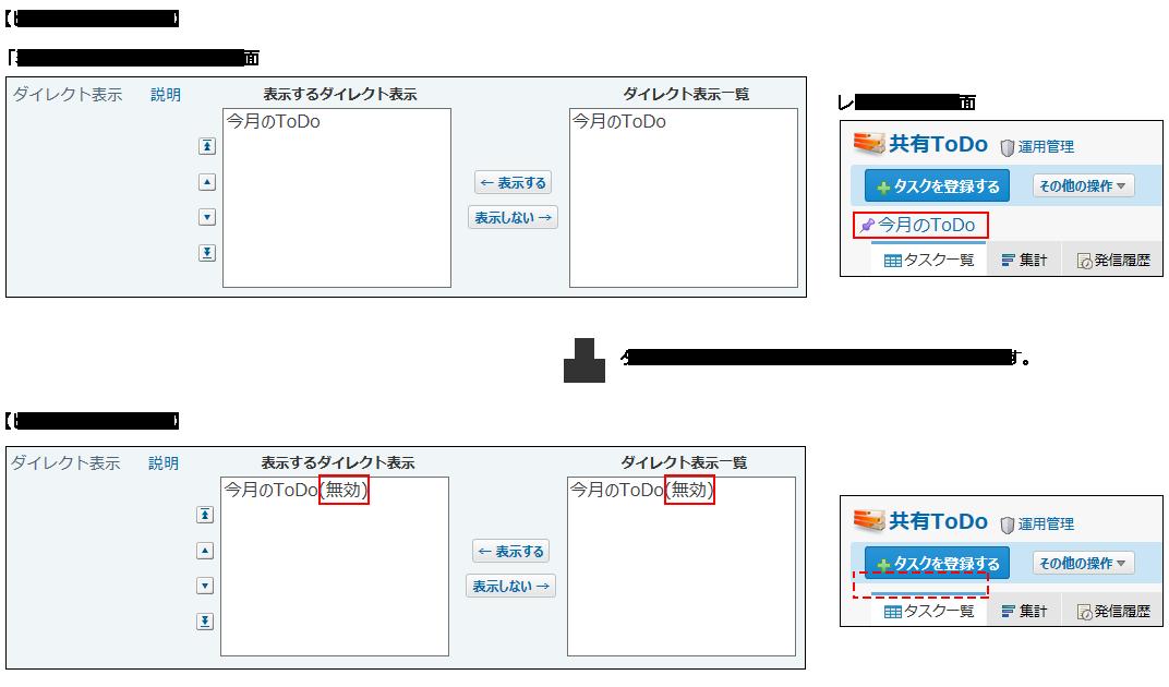 ビュー(一覧)を削除した場合のダイレクト表示のイメージ