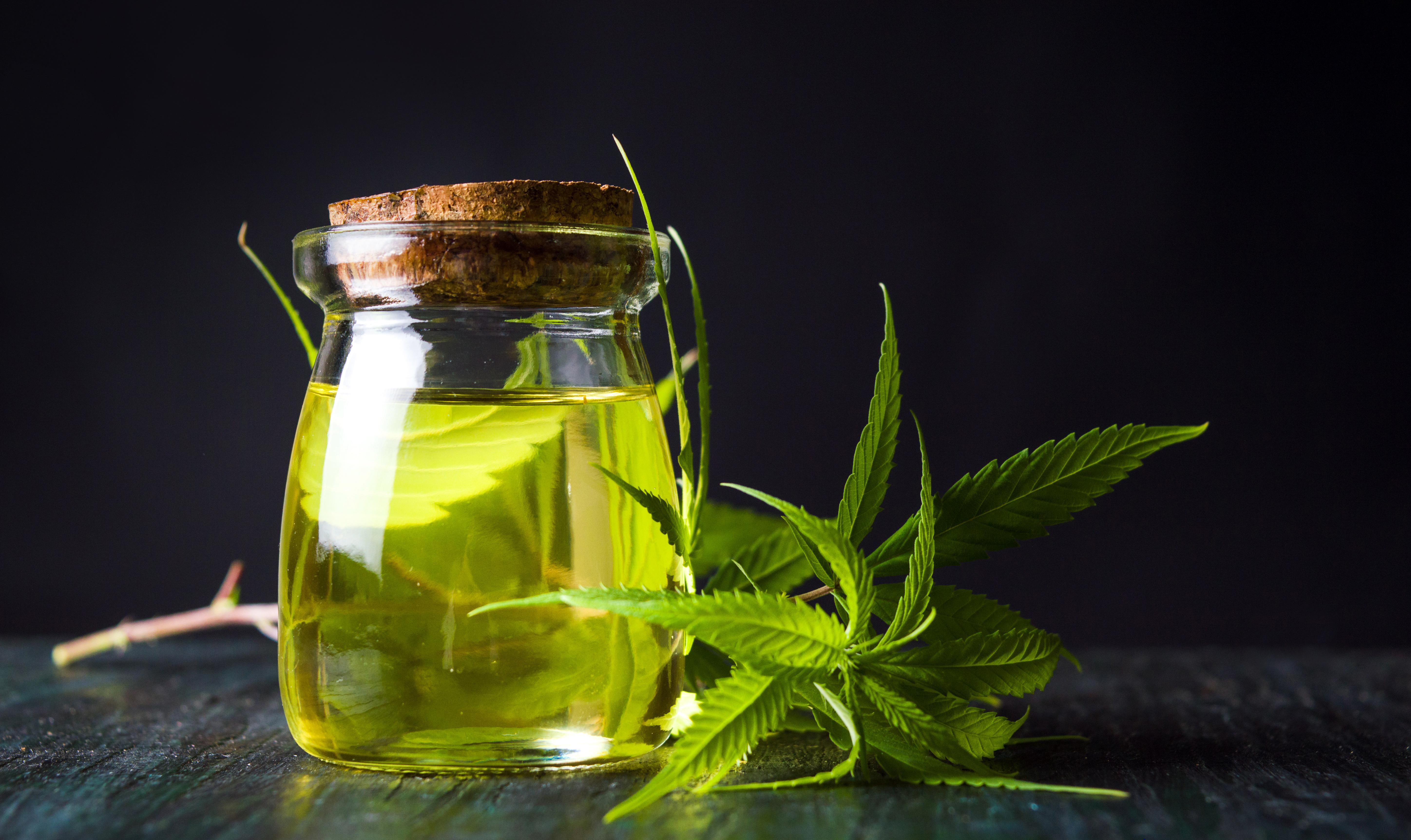 Cannabis Oil & Leaves