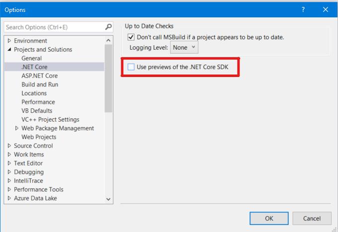 .NET Core options dialog