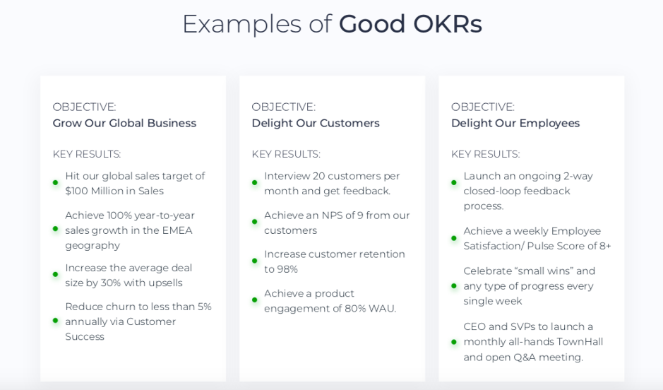 Examples of good OKRs
