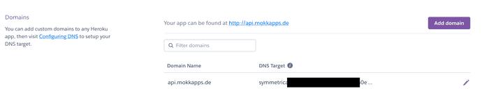 Heroku Dashboard Settings Domain