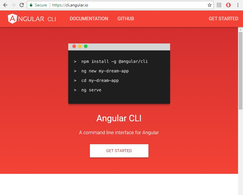 Angular CLI home page