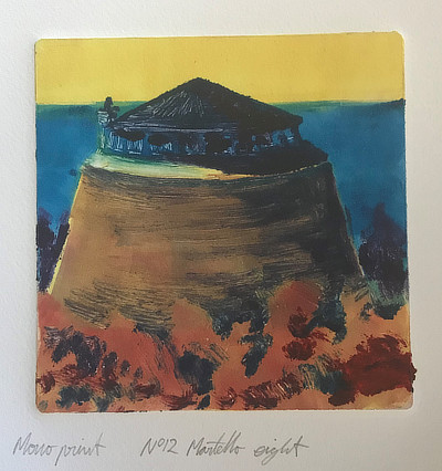 monoprint of Martello Tower with windows around the top