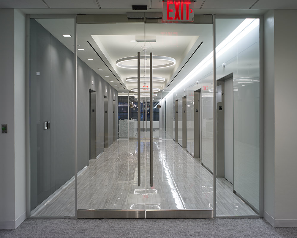 Glass Double Doors and Side Paneling