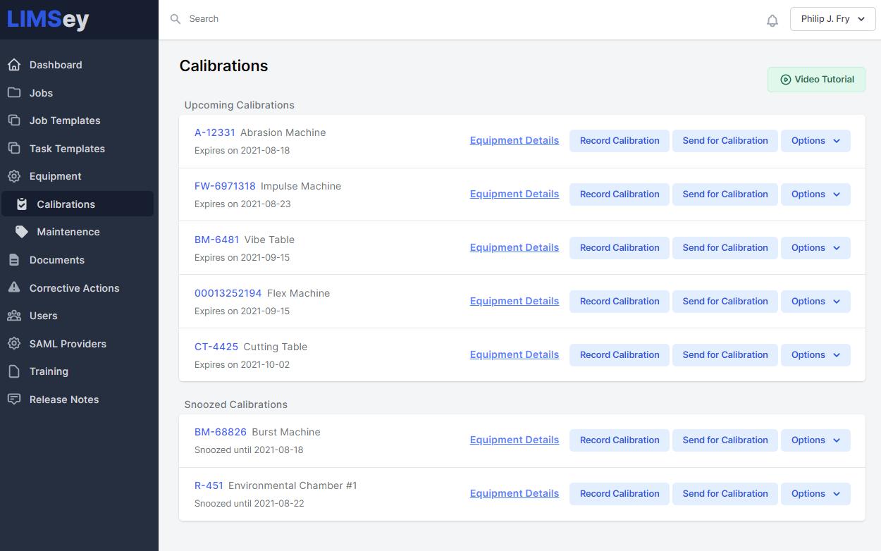 Calibration management screenshot