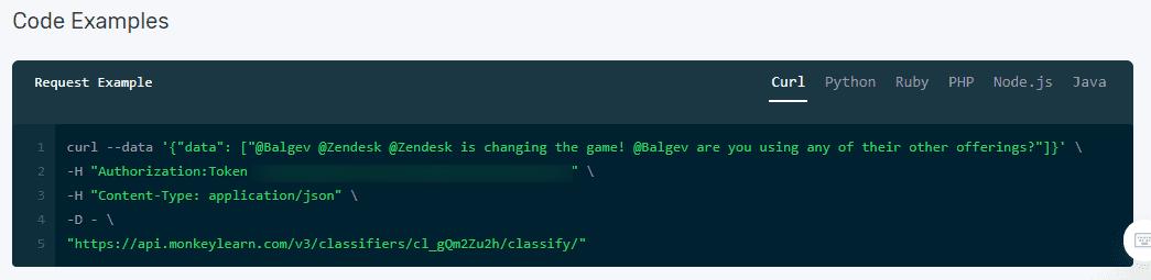 Sample of code for MonkeyLearn API.