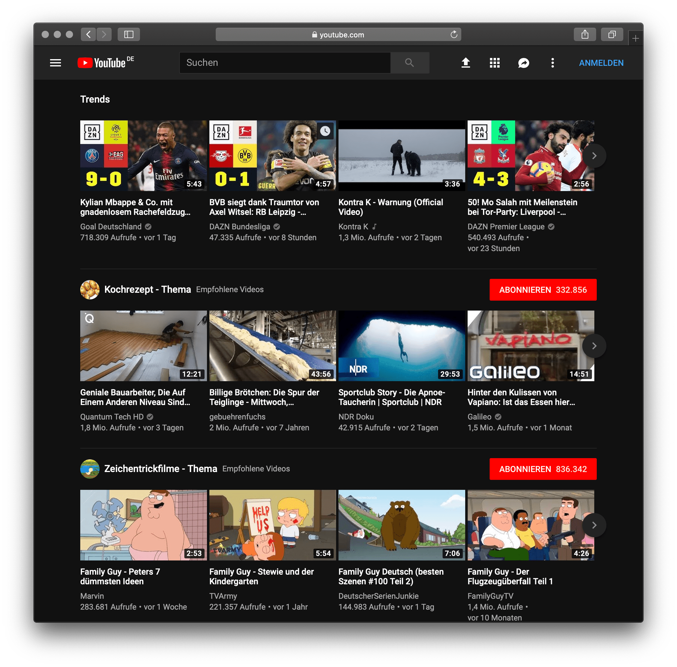 Dark version of Youtube