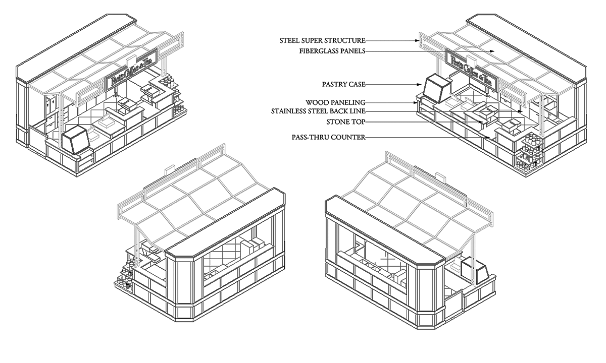 Supermarket Kiosk Isometric Views