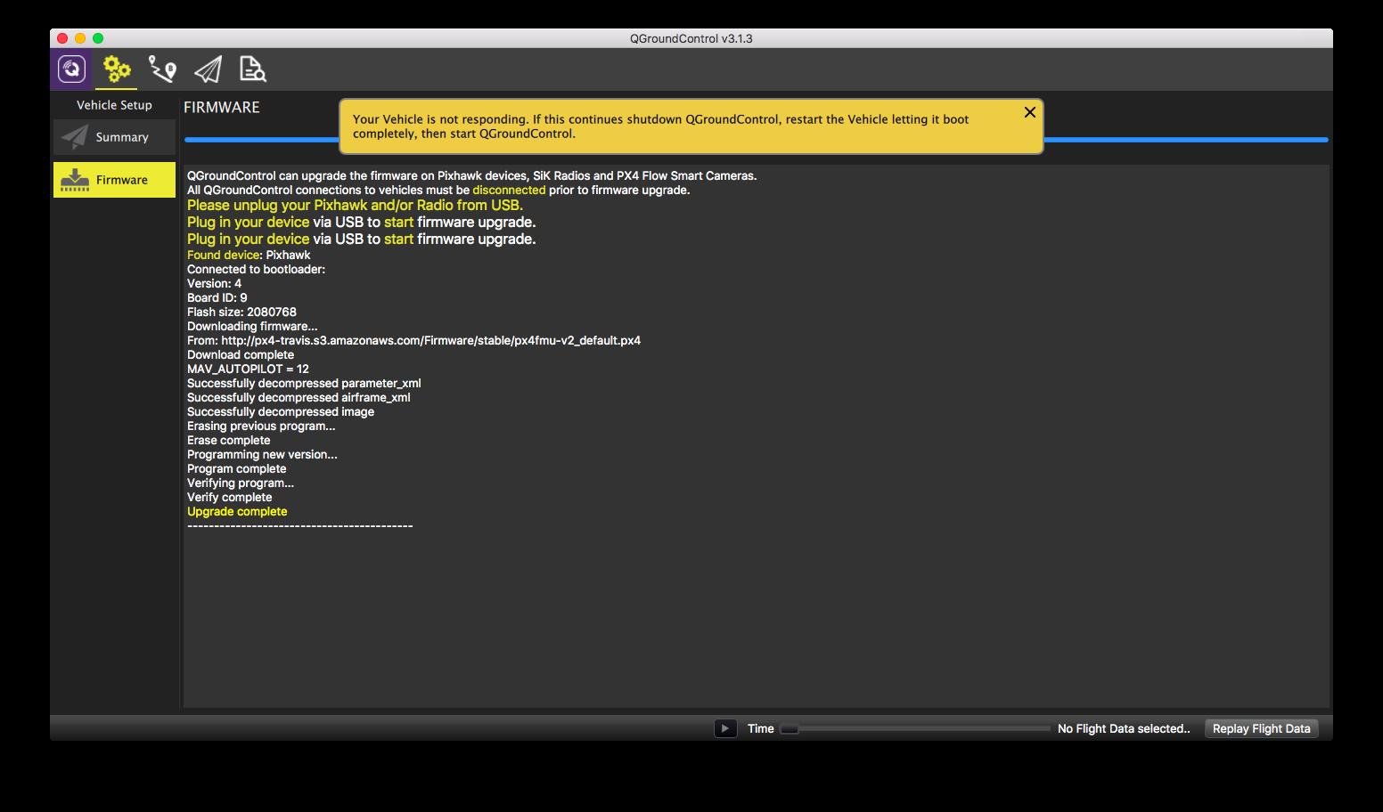 Pixhawk firmware unresponsive