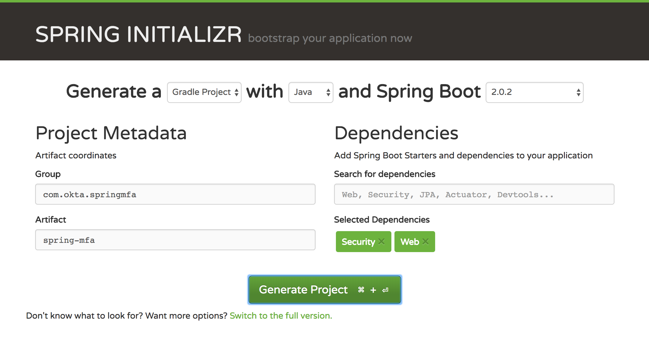 Create a project with Spring Initializer