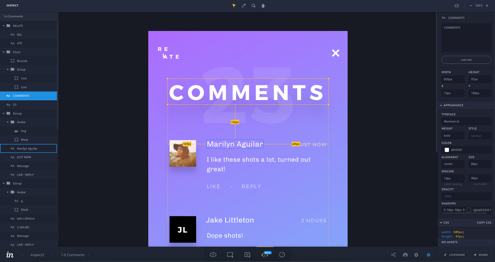 Screenshot of InVision Inspect
