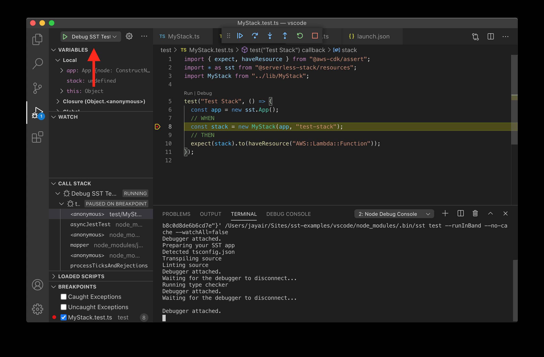 VS Code debug SST tests