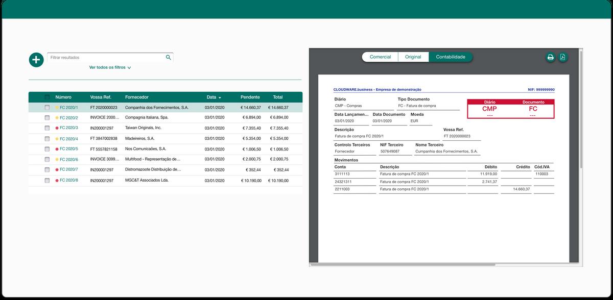 Sugestões automáticas de contabilização
