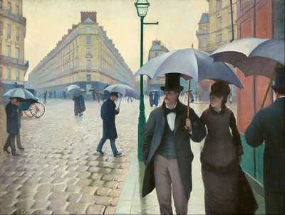 Paris Street; Rainy Day, the 1877 oil painting by the French artist Gustave Caillebotte is his best known work. It shows a number of individuals walking through the Place de Dublin in Paris
