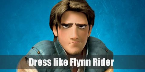 Flynn Rider costume is a simple white tunic underneath a blue vest, brown pants, and brown boots.