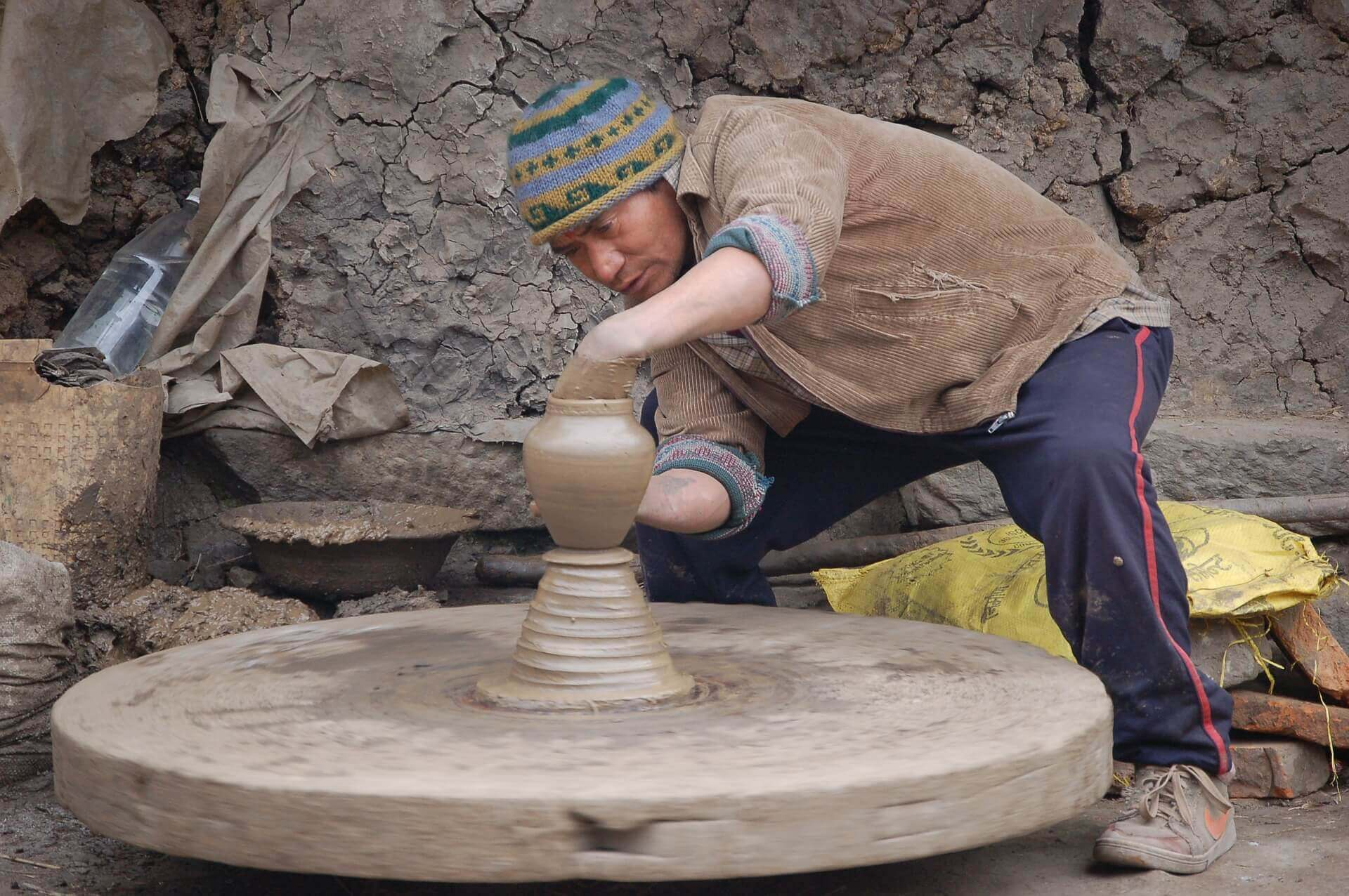 Nepali Potter Making Mud Utensils