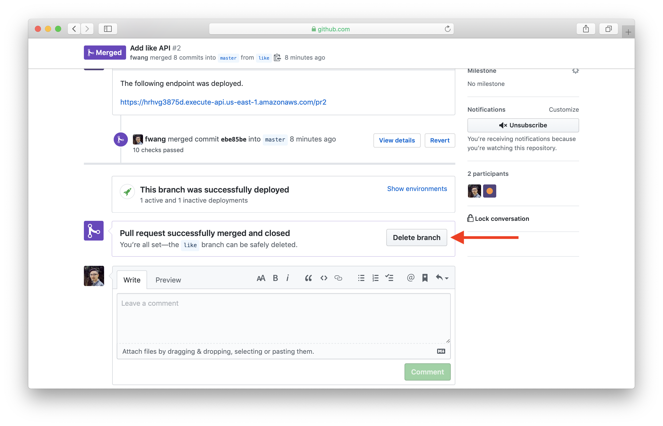 Select remove branch in GitHub