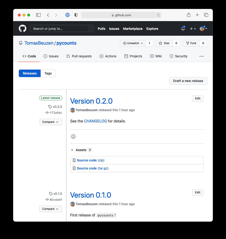 Release v0.2.0 of `pycounts` on GitHub.