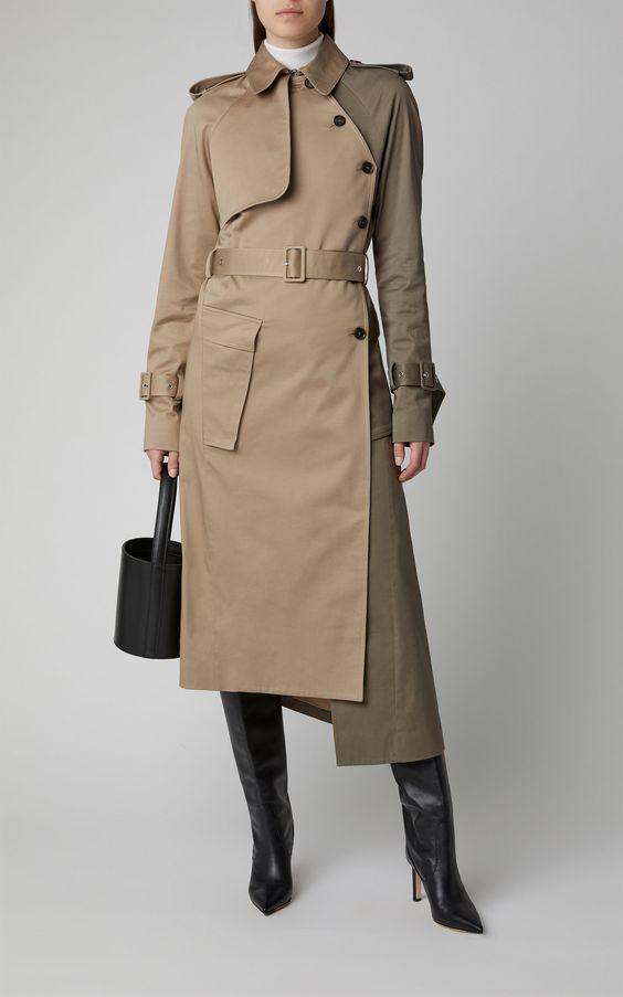 Manteau long bi-matière