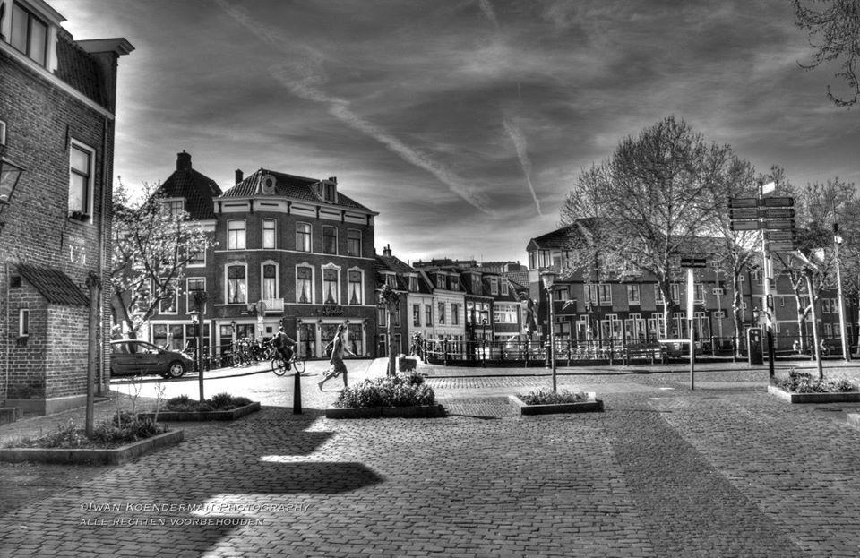 Zwart- wit HDR foto van het Nijntjeplein in Utrecht | advies en ondersteuning in social selling aan mkb