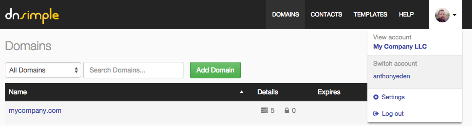 Domains in a Personal account