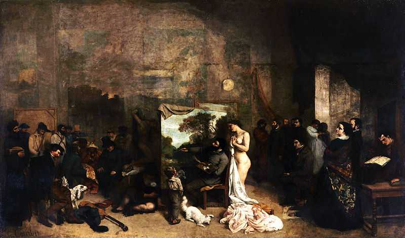 'The Artist's Studio (L'Atelier du peintre): A Real Allegory of a Seven Year Phase in my Artistic and Moral Life' by Gustave Courbet, 1855, Musée d'Orsay, Paris