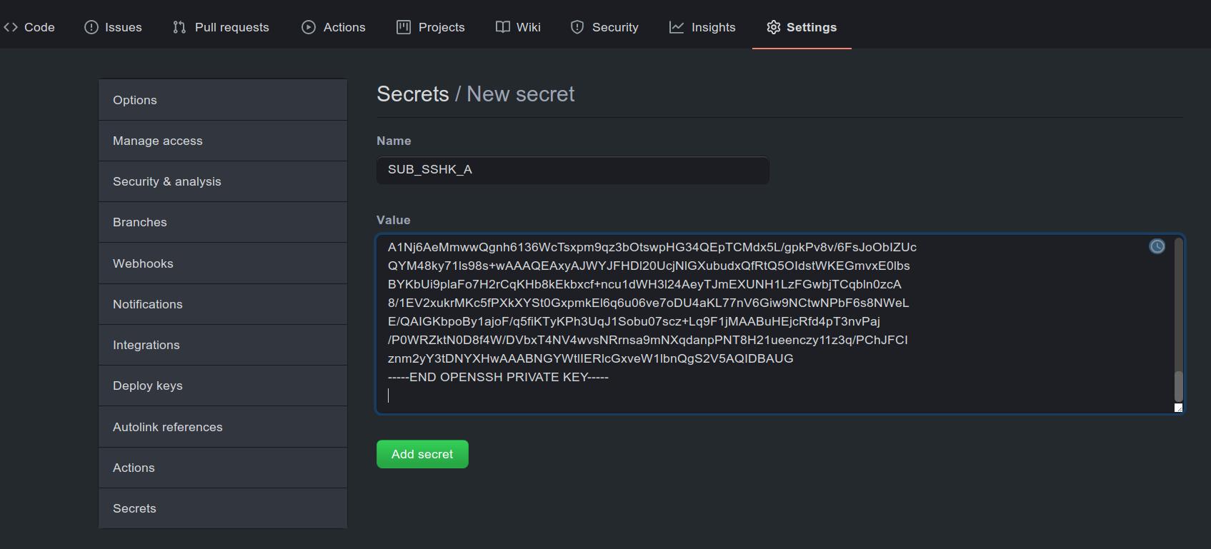 Figure 1: Secret setup in the private project